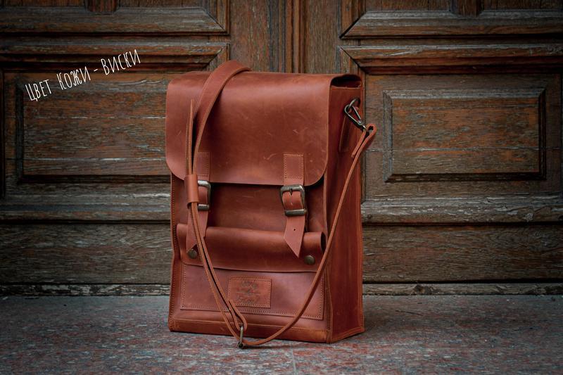 Мужская деловая кожаная сумка мессенджер