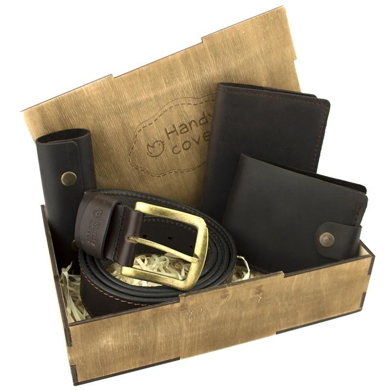 Мужской подарочный набор Handycover №41 коричневый (ремень, портмоне, обложка, ключница)