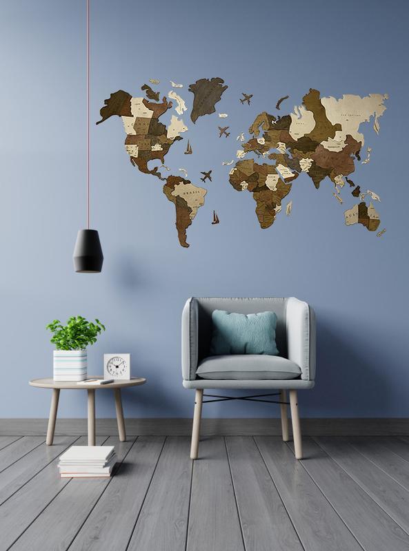 Дерев'яна багатошарова карта світу з країнами 100х60 см