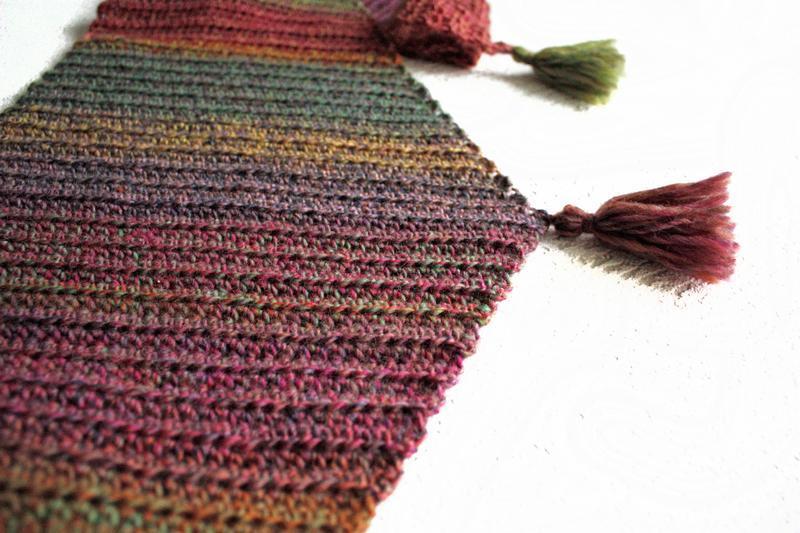 Шерстяной зимний шарф Вязаный зимний бактус с кисточками Женский шарф из шерсти