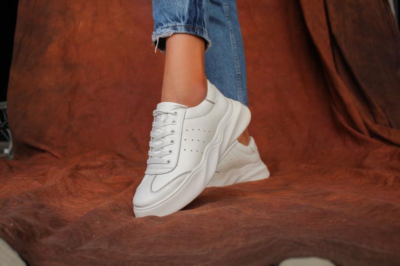 Женские белые кожаные кеды, с 36 по 41 размер