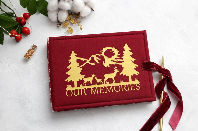 Красный новогодний  альбом, Красный альбом, Зимний альбом с оленями, Подарок родителям