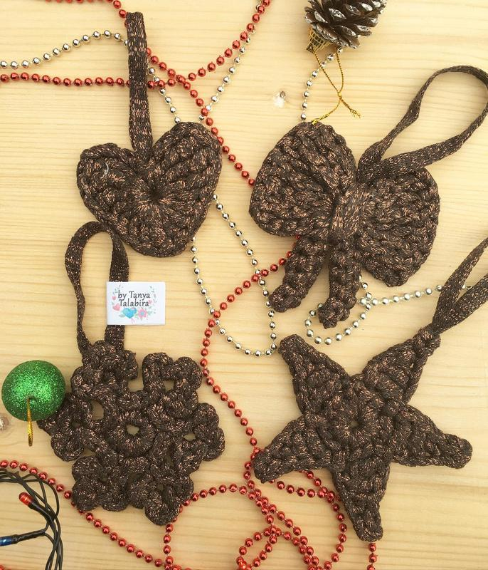 Вязанные новогодние игрушки, в'язані прикраси до нового року