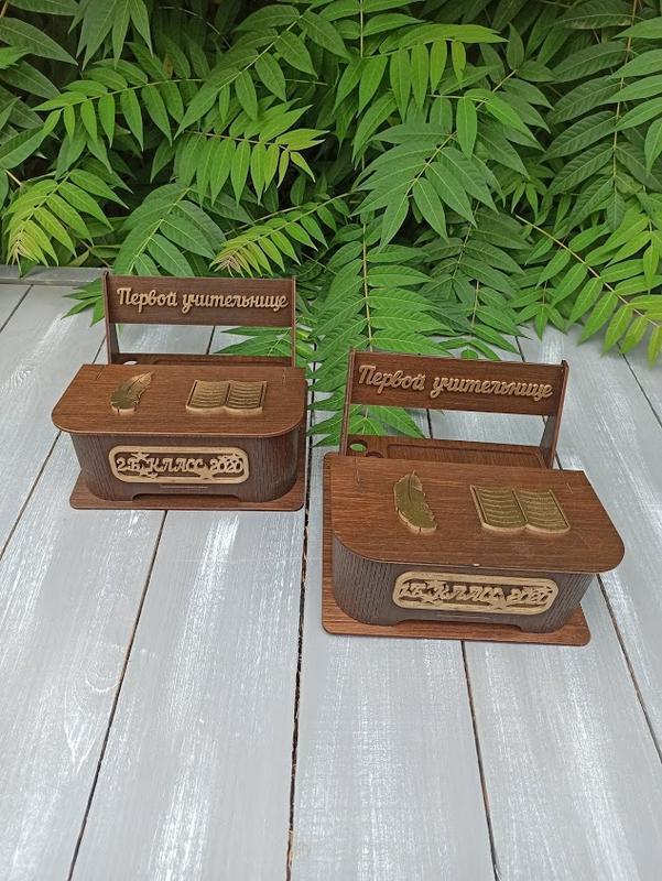 """Деревянный органайзер """"Парта"""", настольный органайзер, подарок для учителя"""