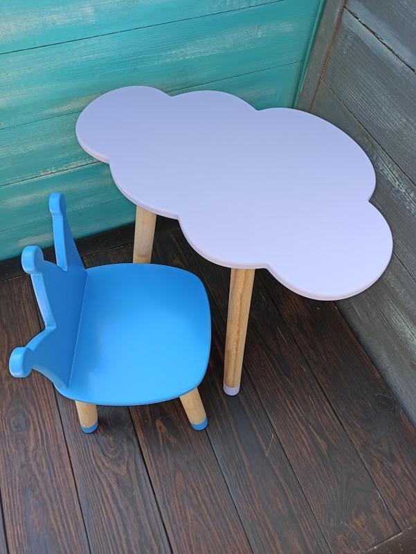 Детский набор мебели, стул-корона, стол-облако, мебель из дерева, мебель для детской