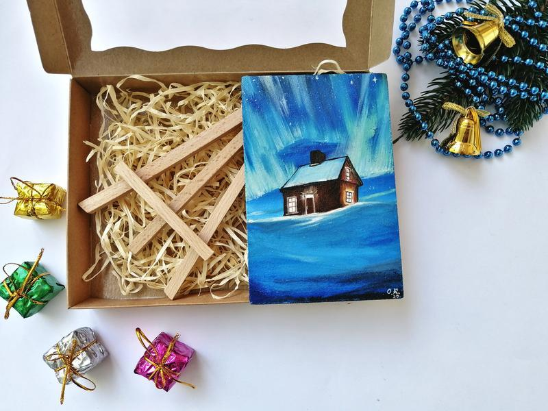 Маленькая картина маслом, Миниатюра маслом зима, Зимний пейзаж, Красивая зима картин, Снежная зима