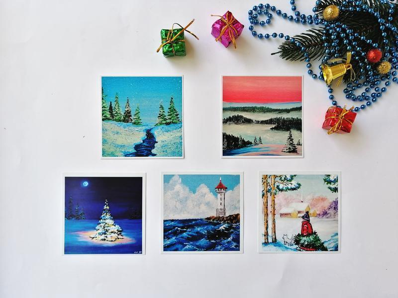 Миниатюра маслом зима, Зимний пейзаж маслом, Маленькая картина маслом, Снежная зима маслом