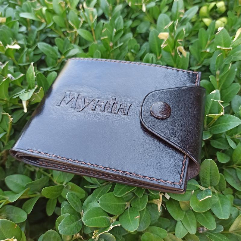 Кожаный кошелек с тиснением любого рисунка или надписи. Натур.кожа, ручная работа