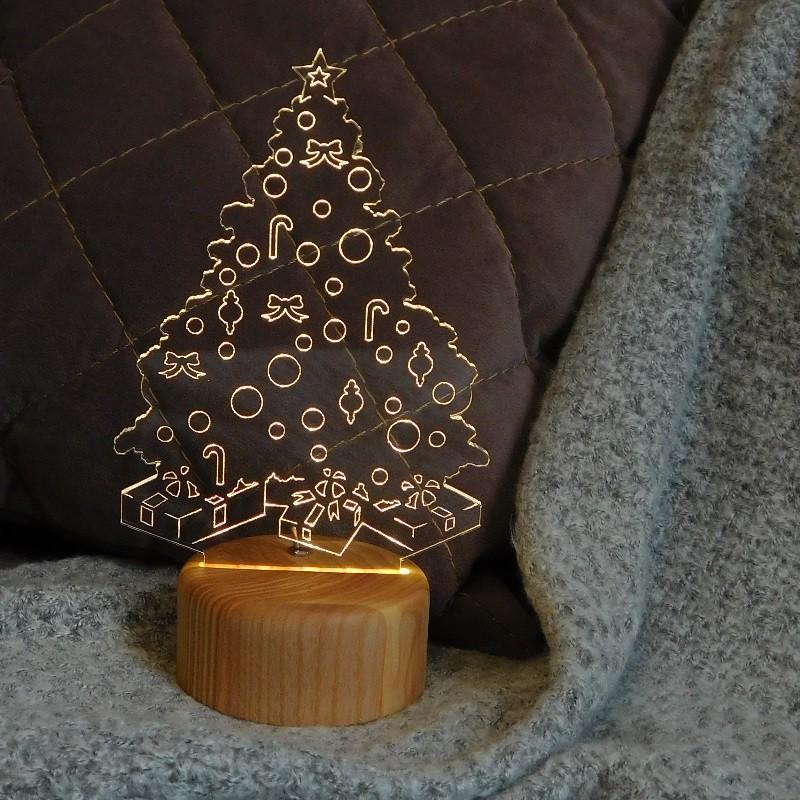 Новогодний подарок. Ночник Елка. Корпоративный брендированный подарок с логотипом.