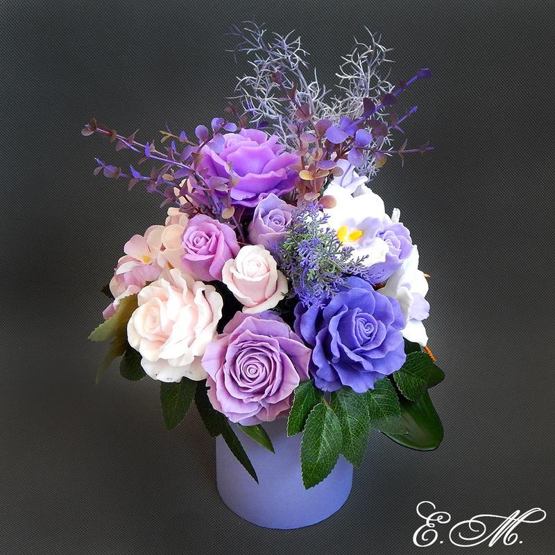 """Букет цветов из мыла """"Орхидеи и розы. Сиреневое настроение"""" - подарочная композиция"""