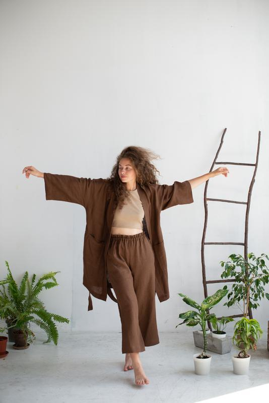Женское длинное кимоно с кюлотами