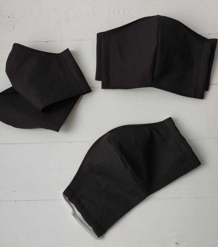 Маска детская многоразовая, тканевая черная/серая
