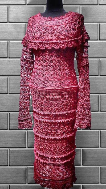 Вязаное шёлковое платье миди