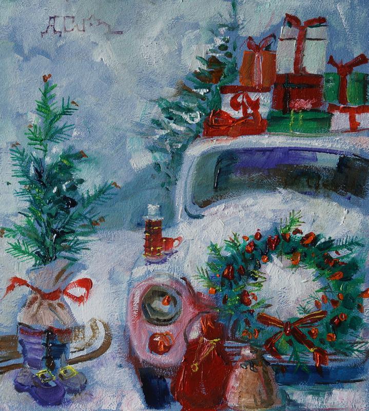 """Картина """"Зимний пейзаж 2"""" масляная живопись"""