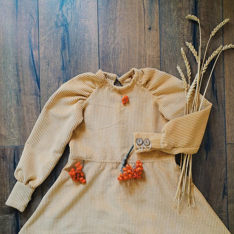 Теплое вельветовое детское платье с кокосовыми пуговками, размеры 2 до 10 лет