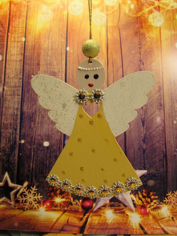 Деревянная игрушка на елку Ангелочек