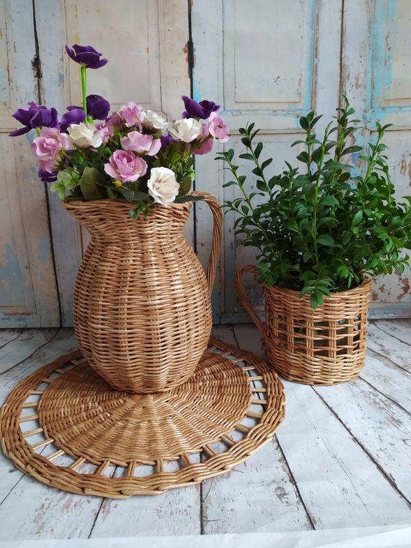 Плетёный набор для кухни-кувшин,чашка,салфетка.