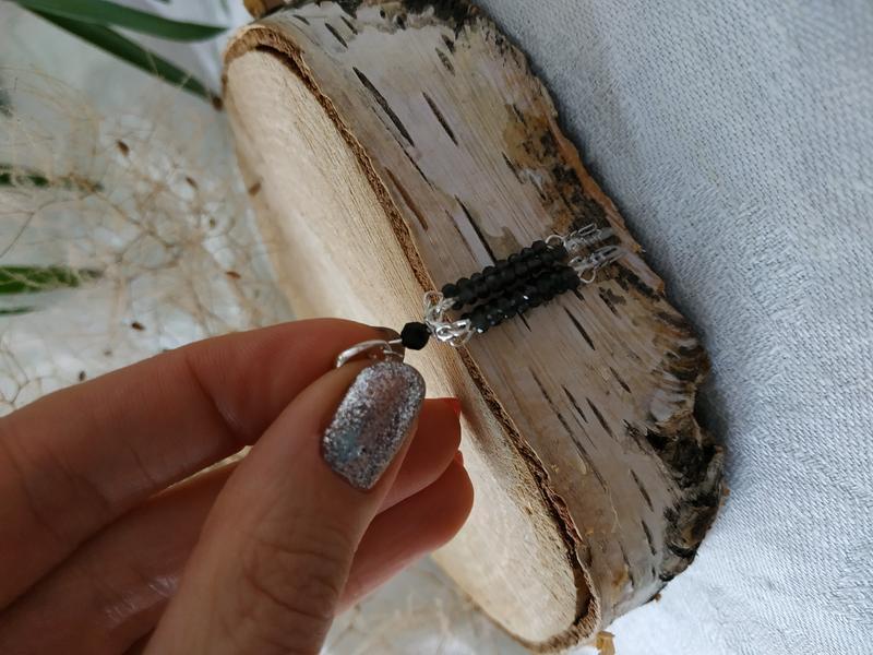 Серебряный кулон, подвеска - кисточка с обсидианом ′Муза′