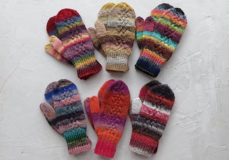 Варежки на подарок, рукавицы вязаные женские из шерсти, зимние теплые варежки, много цветов