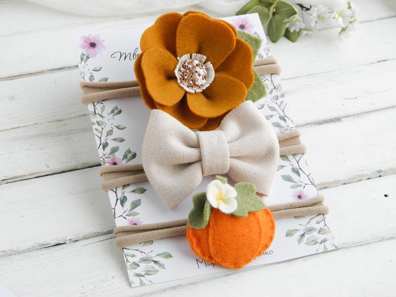 Набор повязок для девочки / Осенние повязки на голову для малышки / Подарок девочке