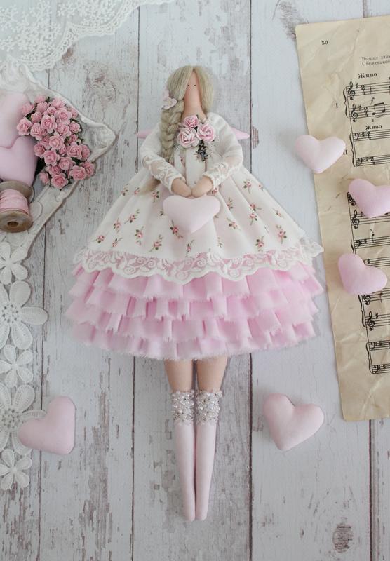 Нежная текстильная кукла в стиле Тильда ангел.