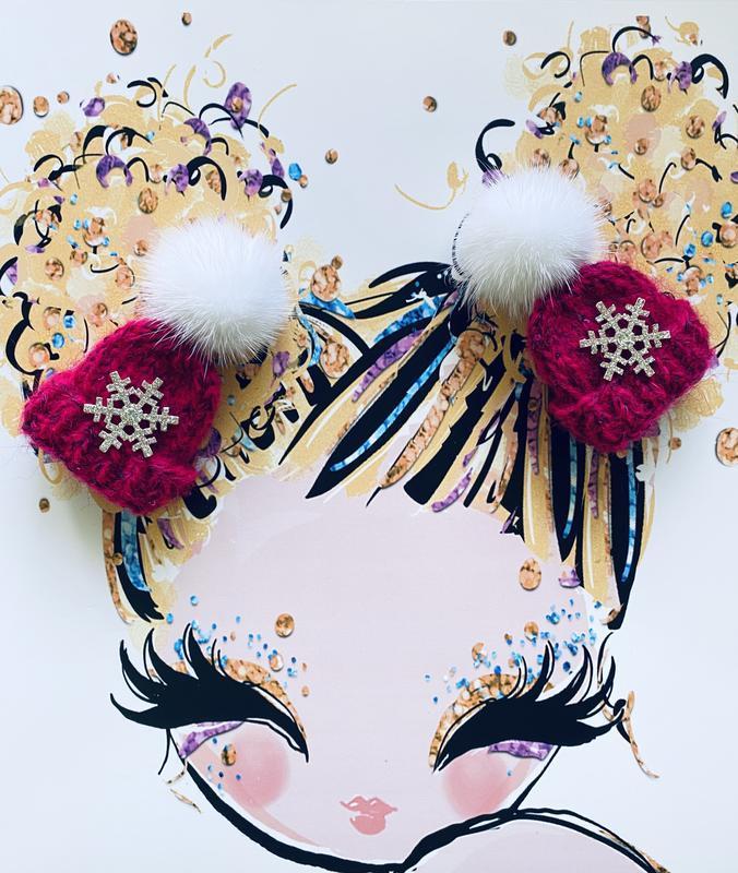 Резиночки шапочка с норкой и снежинкой