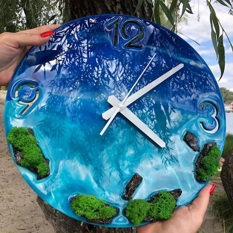 Настенные часы из эпоксидной смолы океан ,картина-часы