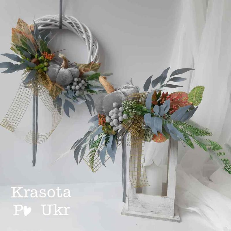 Осенняя композиция-фонарик с текстильным тыковкой