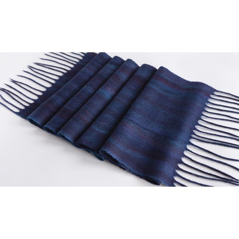 Длинный шерстяной шарф мужской/женский Синий валяный шарф из шерсти мериноса