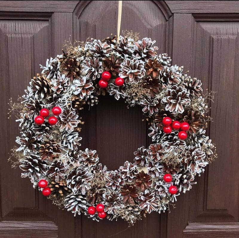 Осенний рождественский веночек, венок новогодний, рождественский венок, осенний венок