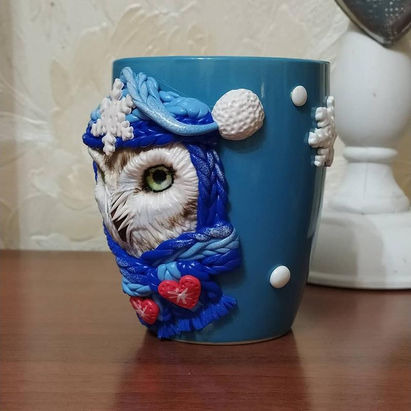 Кружка с декором сова.