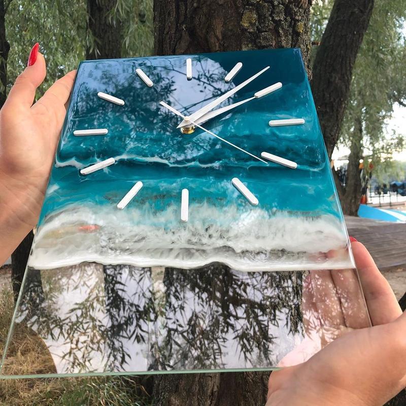 Настенные часы океан из эпоксидной смолы ,стекло