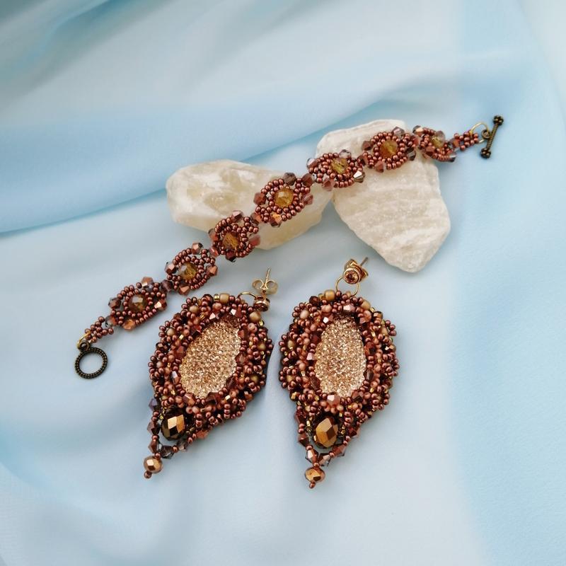 Комплект вечерних украшений ручной работы «золото»