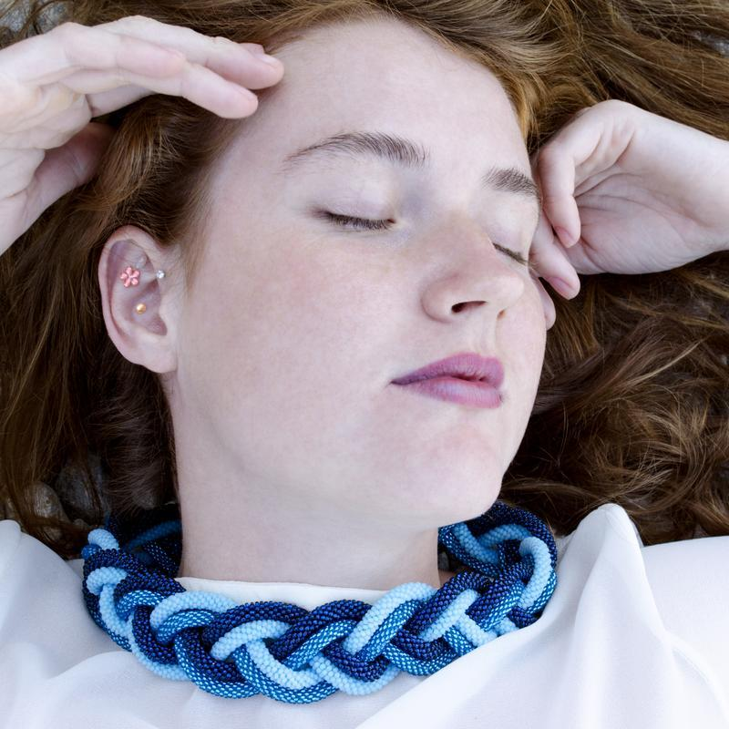 """Колье """"Лазурные волны"""" двойная коса в нежнейших оттенках синего"""