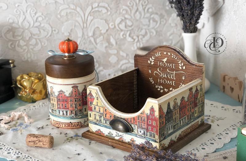 Салфетница деревянная ′Амстердам′. В наличии.
