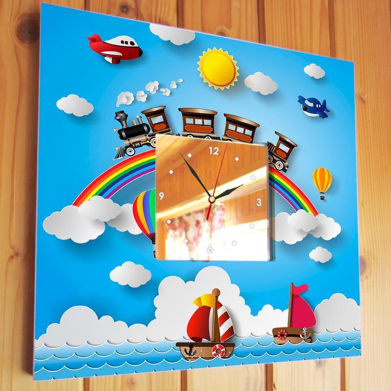 """Авторские часы с детской тематикой """"Радуга. Кораблики. Самолеты. Поезда"""""""