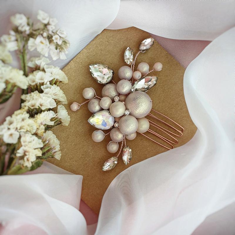 Свадебное украшение для волос, гребешок в прическу, украшение в прическу, заколка, гребень