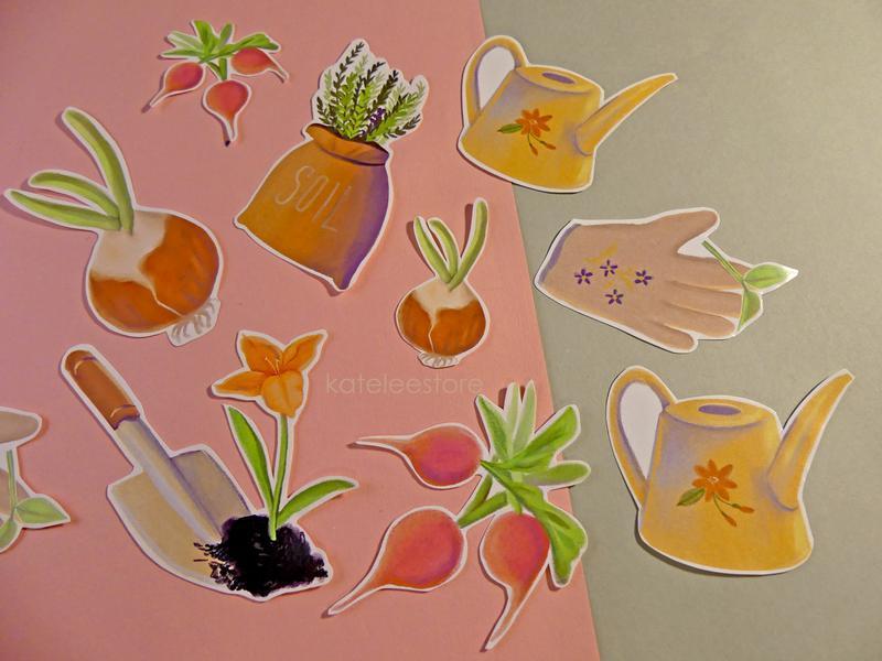 Набор наклеек на садовую тематику