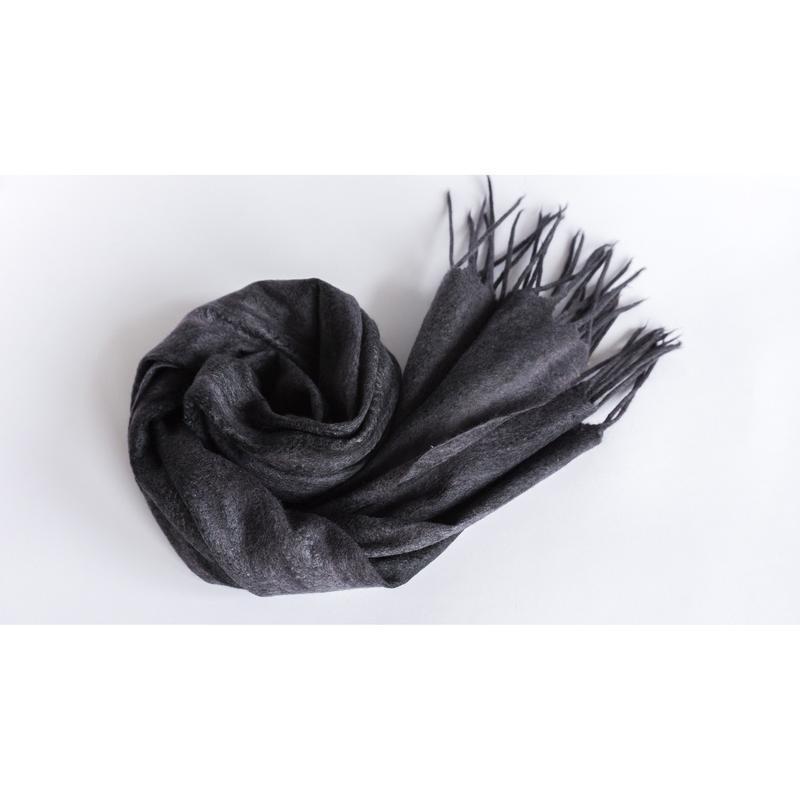 Серый валяный шарф в полоску Мужской/женский шарф из шерсти мериноса