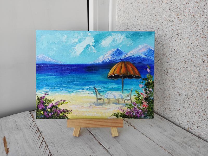 Картина миниатюра море, подарочный набор, картина маслом