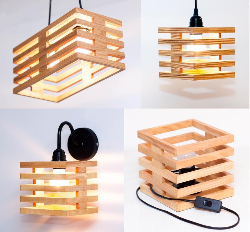 Деревянные светильники Настольная Лампа AF104 Дуб Ясен
