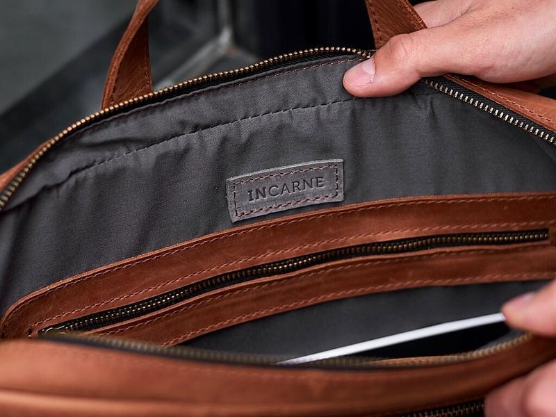 Кожаная сумка для ноутбука Biz с репсовым ремнем