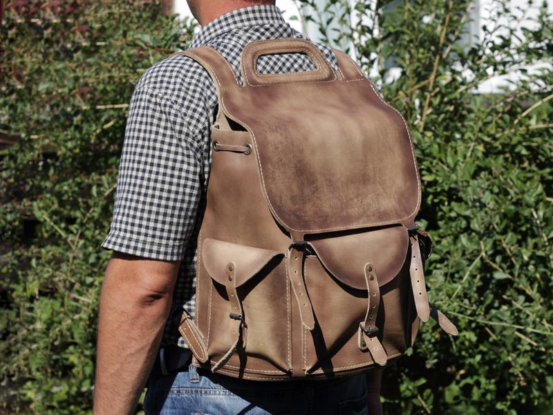 Рюкзак мужской, кожа