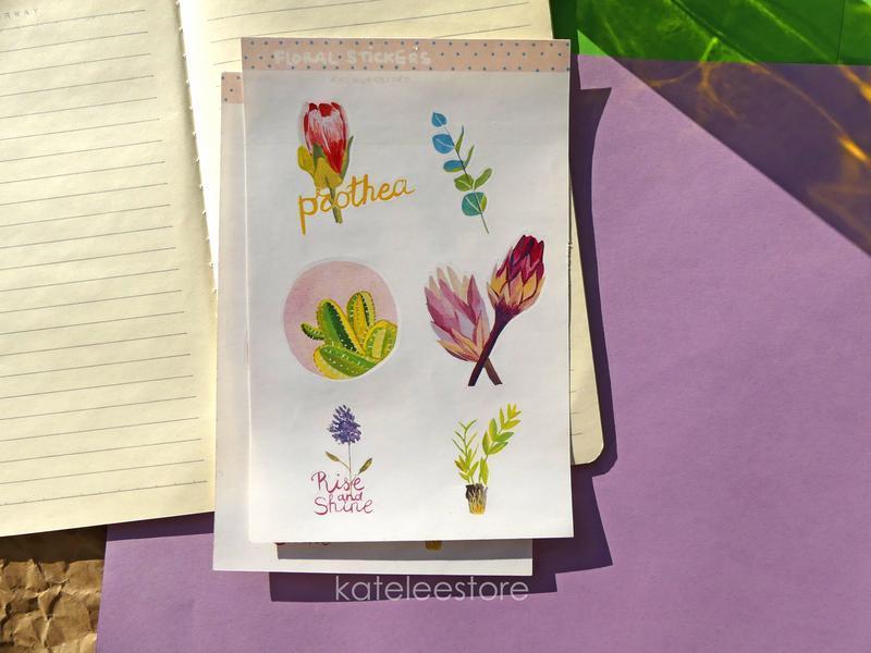 Найлейки ботанические; набор наклеек для планера, скрапбукинга