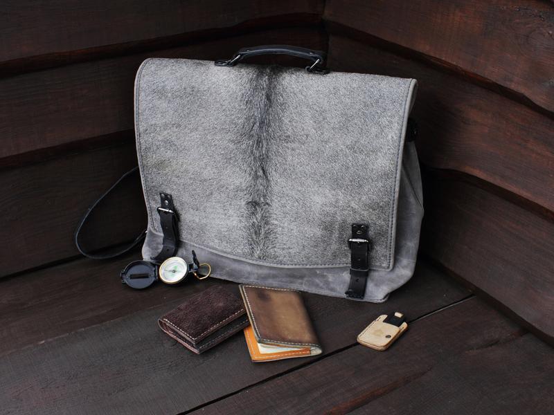 Мужской портфель, ранец из кожи