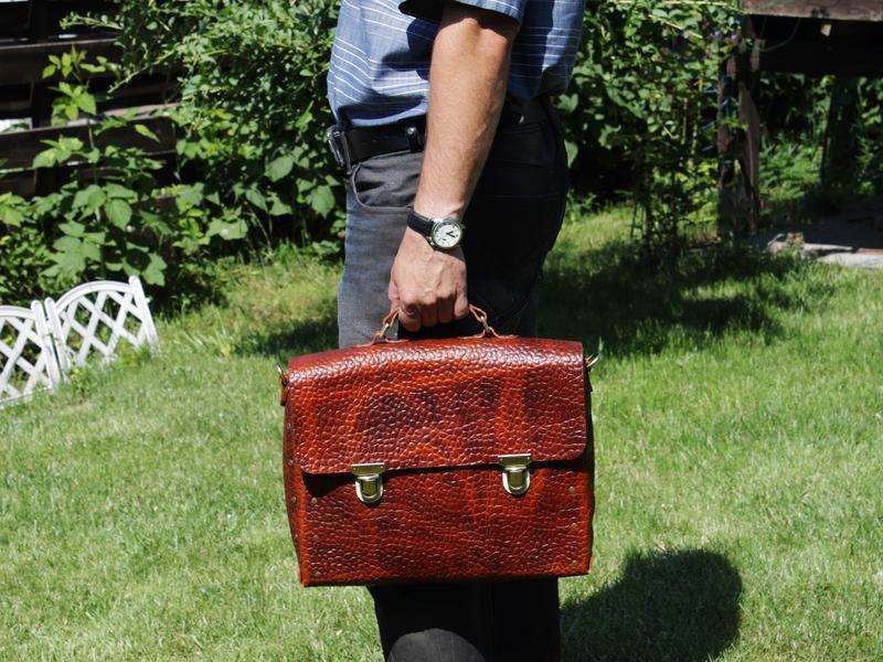 Классический мужской портфель из оригинальной кожи