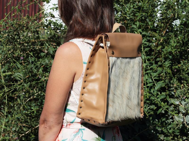 Рюкзак, Кожаный женский Рюкзак, Женская сумка, Сумка из бежевого меха