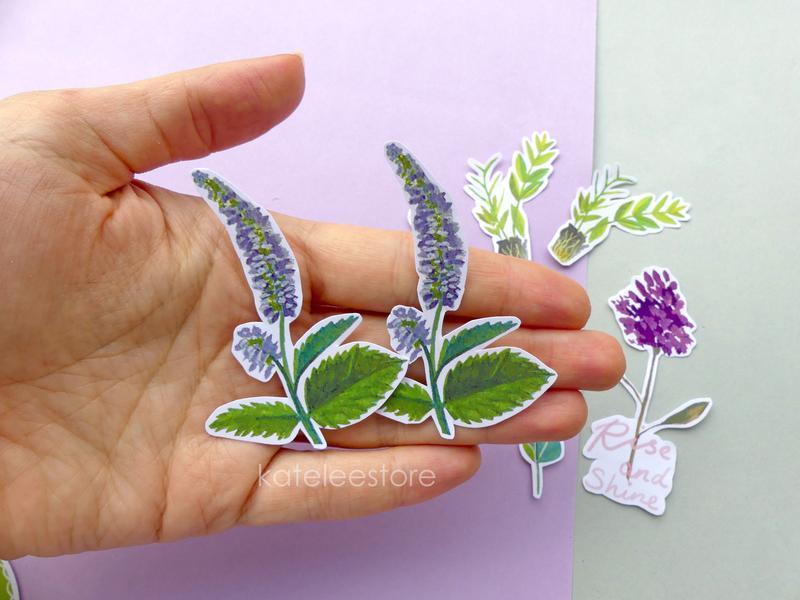 Ботанический стикер ; стикеры для планнера, скрапбукинга; наклейки на ноутбук