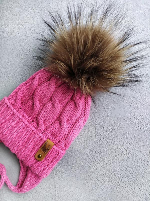 Зимний комплект шапка - снуд для девочки, шапка с помпоном