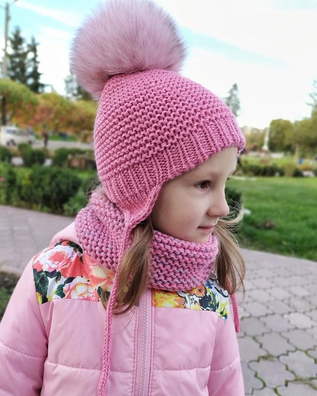 Шапка, дитячий зимовий комплект шапка з помпоном